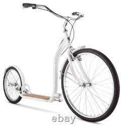 26 Inch Front Wheels Kick Glide Scooter for Adult Rider White Bike Tire Style