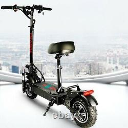 Adult Electric Scooter With Seat Bike Fat Tire Foldable Kick safe
