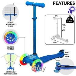 Crazy Joey GLO 3 Wheel Kids Scooter LED Light Up with Knee Wrist Elbow Pads BLUE