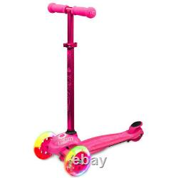 Crazy Joey GLO 3 Wheel Kids Scooter LED Light Up with Knee Wrist Elbow Pads PINK