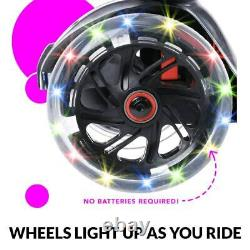 I-Glide Kids 3 Wheel Push Scooter with Seat LED Light Up Wheels Black