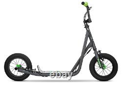 Mongoose R6174 Kids Kick SCOOTER, 12 Inflatable Tires Kids TRICK SCOOTERS, Grey