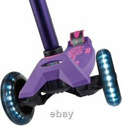 NEW Micro Kickboard Kid's Maxi Deluxe LED Wheels Scooter in Purple, Ages 5-12