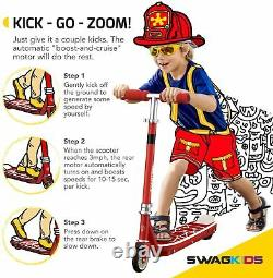 Swagtron SK1 Kids Electric Scooter Kick Scooter with Kick-Start Motor ASTM F2641
